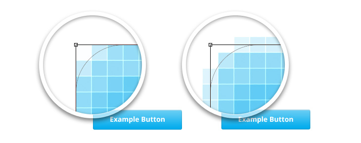 The difference between a pixel perfect button and one that isn't pixel perfect.