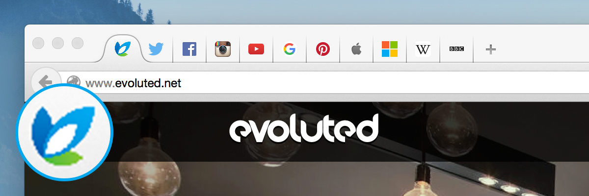 The previous Evoluted favicon, along with some other recognisable favicons