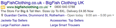 big fish clothing adwords