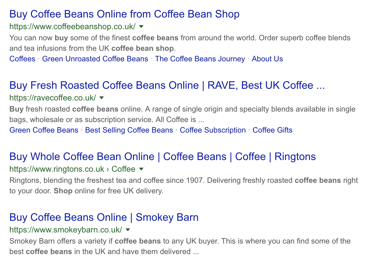 Example SERP - 'Buy Coffee Beans'