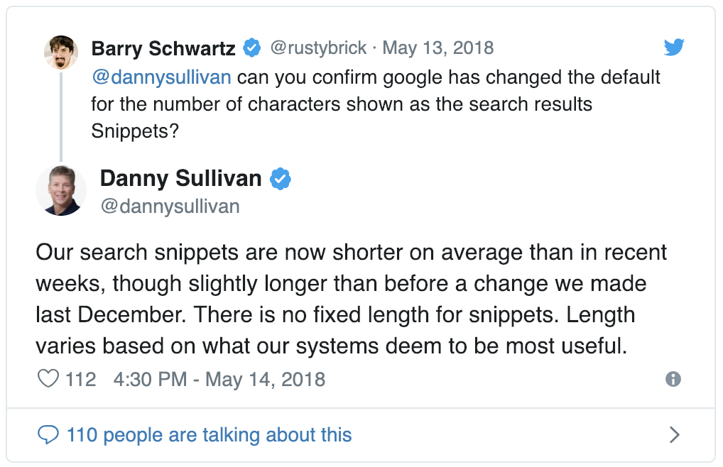 Danny Sullivan Meta Description Length Tweet