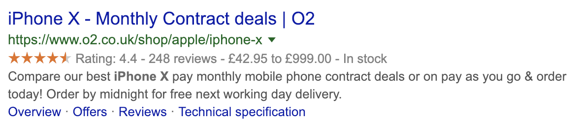 O2 iPhone X Product Price Search Result