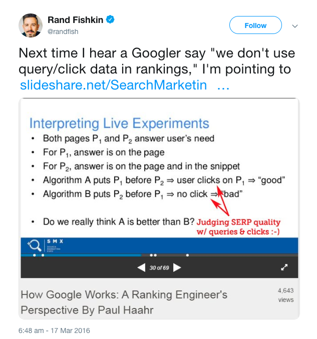 Rand Fishkin Tweet on Google Refuting Their Use Of Query/Click Data in Rankings