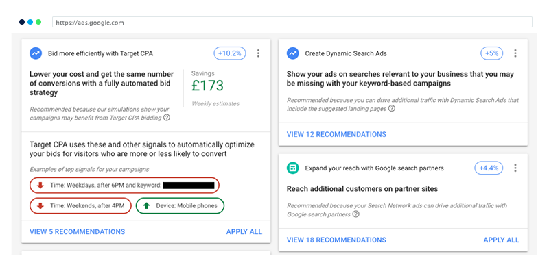 google recommendations interface